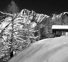 mountain cabin in snow by neil harrison