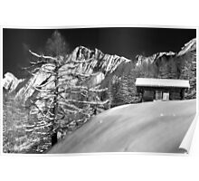 mountain cabin in snow Poster
