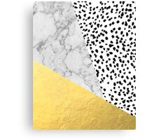 Marble Gold Dots - modern hipster trendy shiny gold foil cell phone case iphone dorm college Canvas Print