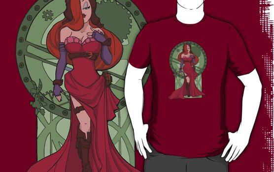 Steampunk Jessica Nouveau Digital T shirt by Karen  Hallion