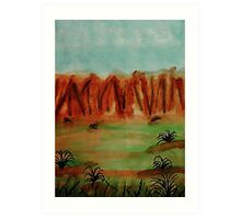 The cliffs over looking green valley, watercolor Art Print