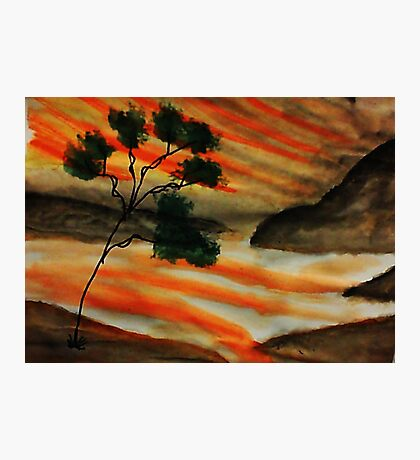 Beautiful sunset with fantacy tree, watercolor Photographic Print