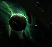 A Green Planet Surrounded by Moons by StocktrekImages