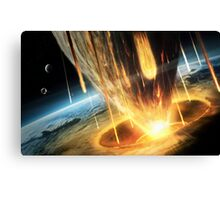 A giant asteroid collides with the earth.  Canvas Print