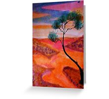 Fantasy tree over a water scene, watercolor Greeting Card