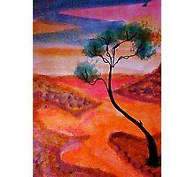 Fantasy tree over a water scene, watercolor Photographic Print