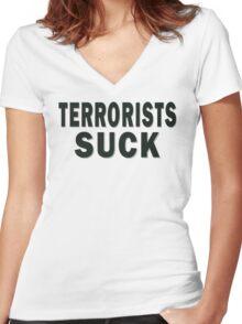 Terrorists Suck Women's Fitted V-Neck T-Shirt