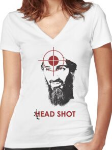 Head Shot ver. 2 Women's Fitted V-Neck T-Shirt