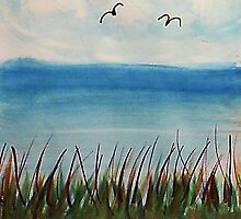 Tall  grass along the waterfront, with birds, watercolor by Anna  Lewis