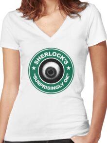 Sherlock's Coffee - Surprisingly OK! Women's Fitted V-Neck T-Shirt