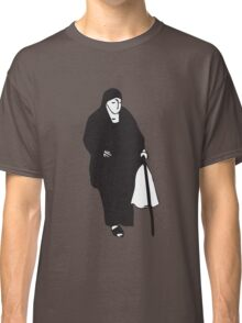old woman with empty bag and walking stick Classic T-Shirt