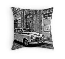 Vintage Car Graphic Novel Style Throw Pillow