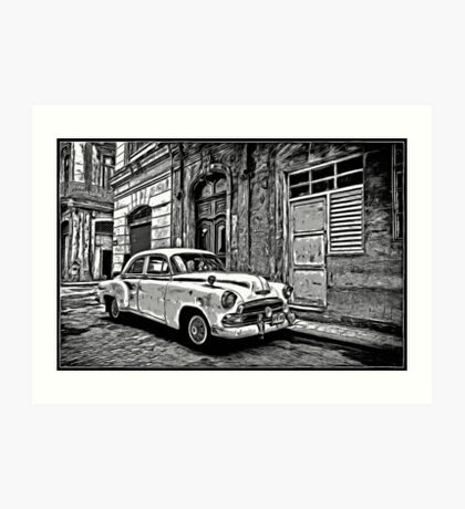 Vintage Car Graphic Novel Style Art Print