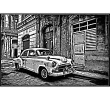Vintage Car Graphic Novel Style Photographic Print