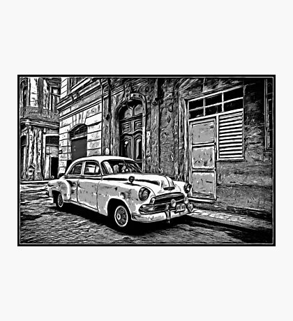 Vintage Car Graphic Novel Style Photographic Print