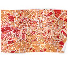 London Map Art Red Poster