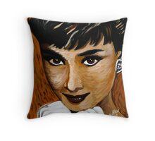 Audrey Hepburn in Brown 002 Throw Pillow