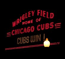 Wrigley Field marquee Chicago Cubs WIN! by Linda Matlow