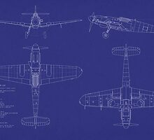 Messerschmitt ME109 Blueprint by ArtPrints