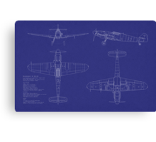 Messerschmitt ME109 Blueprint Canvas Print