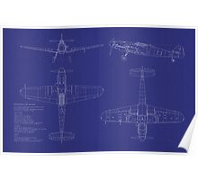 Messerschmitt ME109 Blueprint Poster