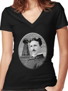Nikola Tesla - Legends of Science Series Women's Fitted V-Neck T-Shirt