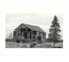old barn and tree Art Print