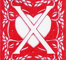 Red Heart Letter X by Donna Huntriss