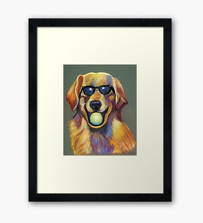 Golden Retriever with Tennis Ball Framed Print