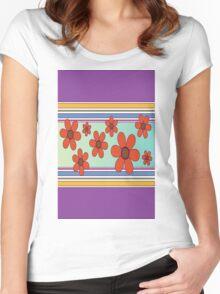 líneas y flores Women's Fitted Scoop T-Shirt