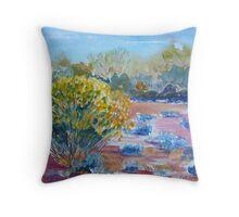 Yellow bush and blue scrub outback Australia Throw Pillow