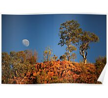 moonset over red rock Poster