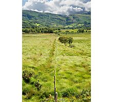 fence leading to green rocky mountains  Photographic Print