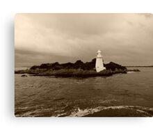 Lighthouse on Sarah Island - tasmania - sepia Canvas Print