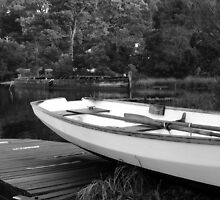 Boats at Risby Cove -Strahan -Tasmania  -  B&W by lighthousecove