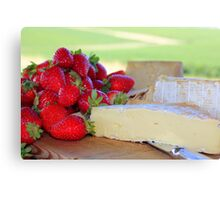 strawberries & cheese Canvas Print