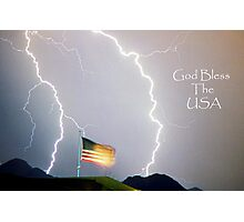Lightning Strikes God Bless the USA Photographic Print