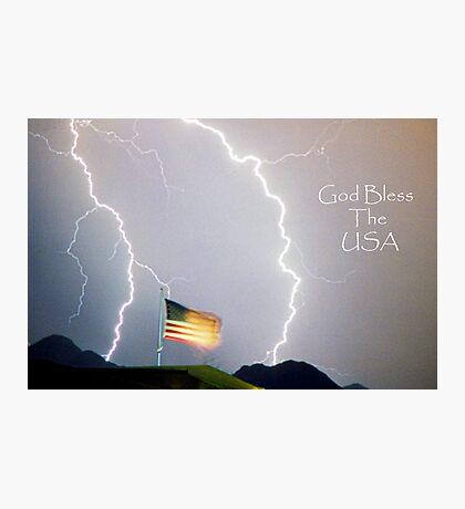 Lightning Strikes God Bless the USA Photographic Print