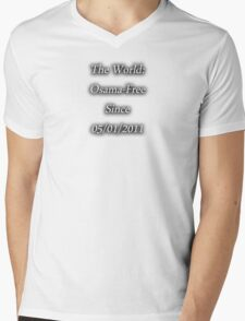 Osama-Free World Mens V-Neck T-Shirt