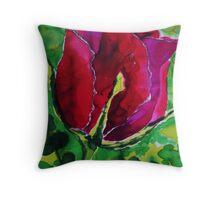 Rose on silk Throw Pillow