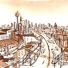 City Scape Sydney Sepia Ink by Tristan Klein
