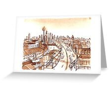 City Scape Sydney Sepia Ink Greeting Card