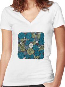 Spirals  Women's Fitted V-Neck T-Shirt