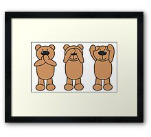 3 wise bears - don't speak, don't see, don't hear Framed Print