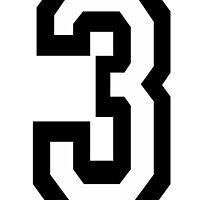 3, TEAM SPORTS, NUMBER 3, THREE, THIRD, Competition, Tri,  Triple by TOM HILL - Designer
