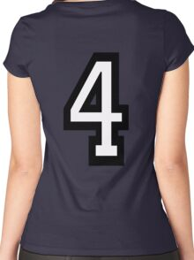 4, TEAM, SPORTS, NUMBER 4, FOUR, FOURTH, Competition, Quatro Women's Fitted Scoop T-Shirt