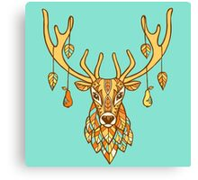Autumn ornamented deer hand drawn vector illustration. Deer with autumn leaves and pears tattoo. Ethnic animals vector illustration. Ethnic deer / african / indian / totem Canvas Print