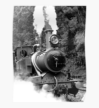 Wilderness Train at Strahan  -Tasmania   -B&W Poster