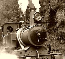Wilderness Train at Strahan  -Tasmania   -  sepia by lighthousecove
