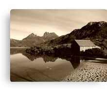 Old boat shed in Cradle Mountain  -Tasmania  -  sepia Canvas Print